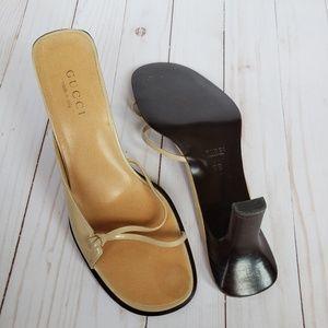 EUC Gucci Slide-on Low-heel Sandals Tan 9B